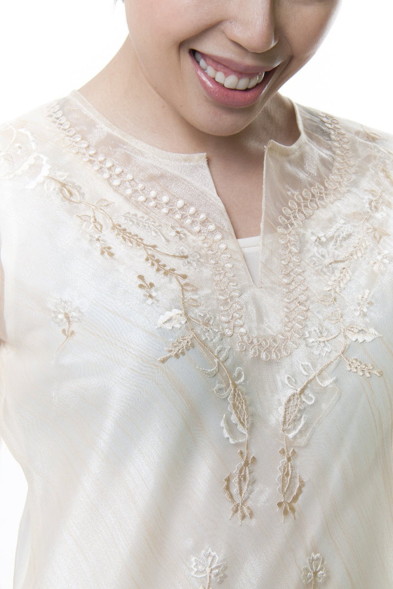 Womens Kimona Beige 001 - Filipiniana