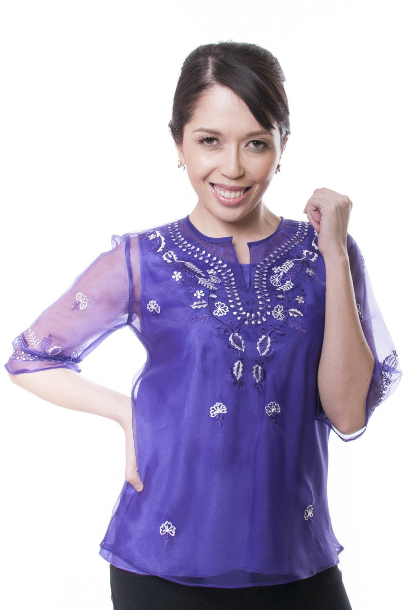 Womens Kimona Purple 001 - Filipiniana