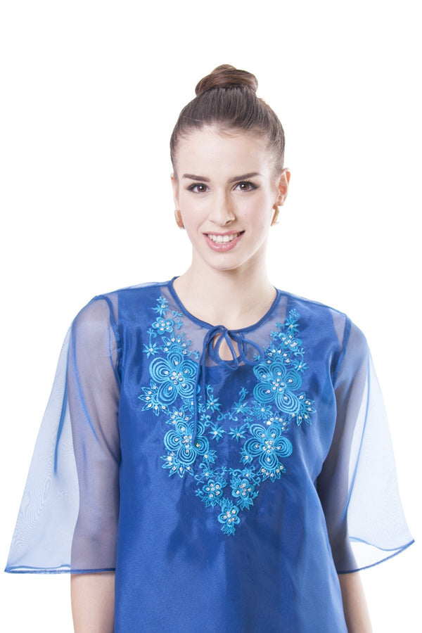 Womens Kimona Blue 002 - Filipiniana