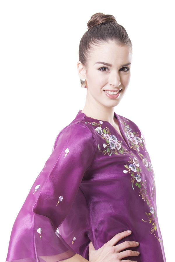 Pre-Order - Womens Kimona Painting Purple 001 Filipiniana