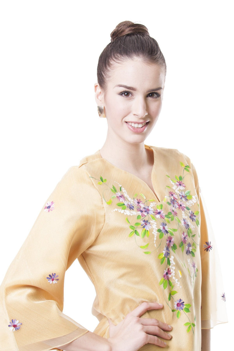 Pre-Order - Womens Kimona Painting Gold 001 Filipiniana