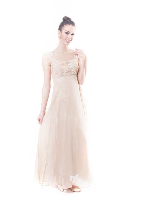 Pre-Order - Pleated Chiffon Gown Dress