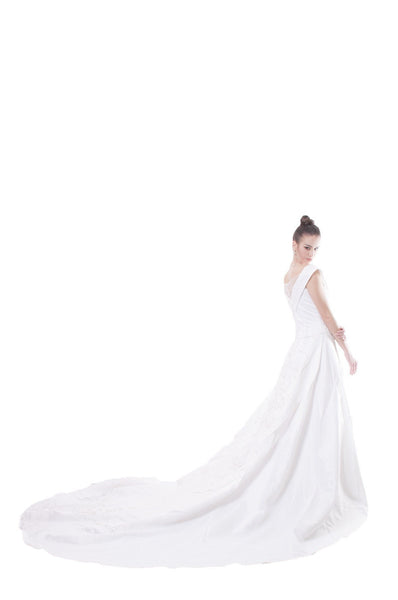 Custom Order Bridal Satin Off Shoulder Gown Barong
