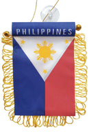 Filipino Flag Car Accessory With Suction Cup Hanger Handicrafts