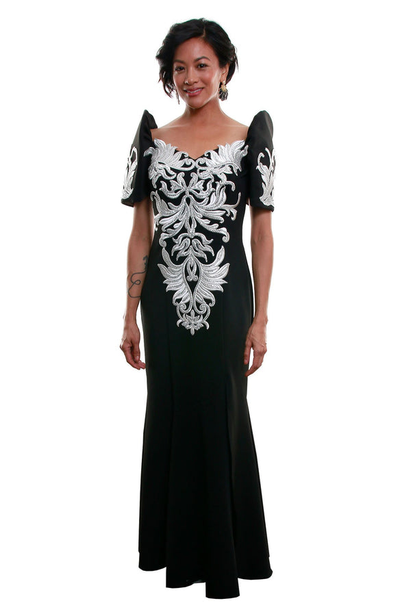 Pre-Order - Neoprene Mestiza Gown Black Filipiniana Dress