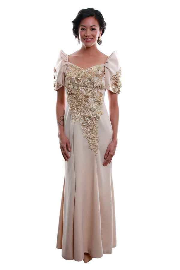 Pre-Order - Neoprene Mestiza Gown Gold Filipiniana Dress