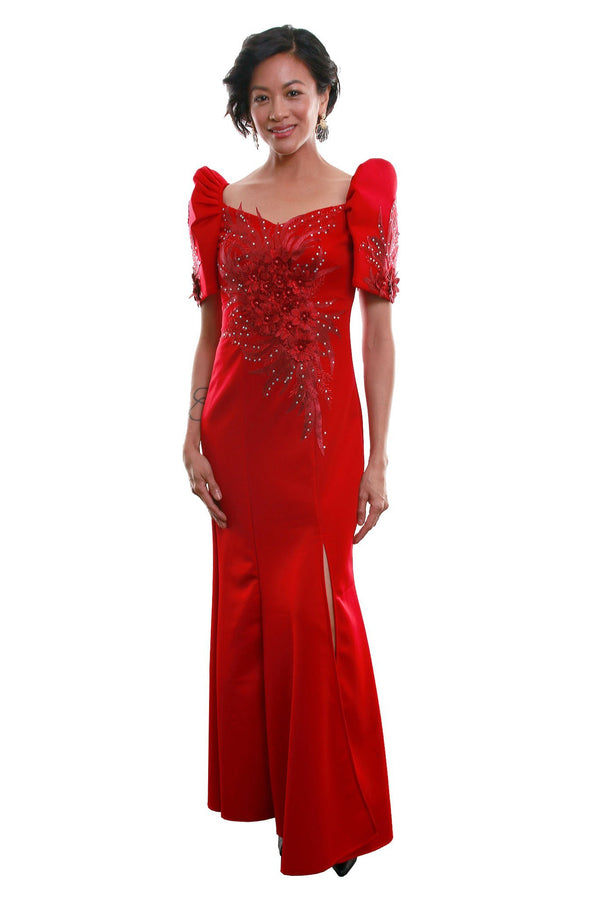 Pre-Order - Neoprene Mestiza Gown Red Filipiniana Dress