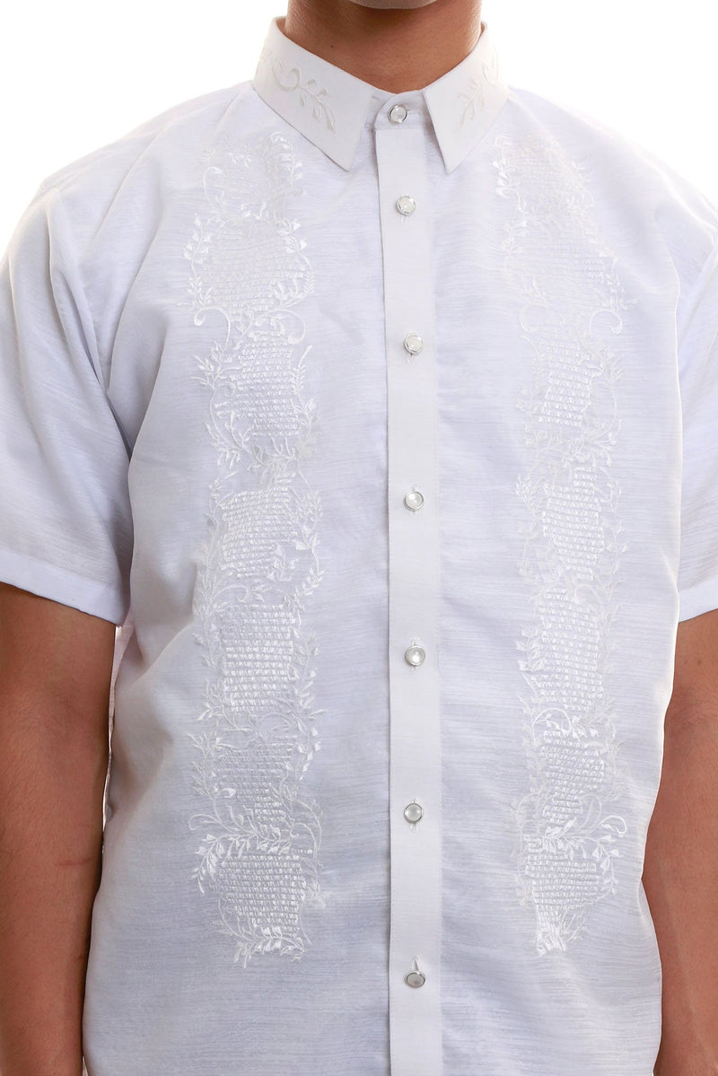 Jusilyn Short-Sleeve Full-Open White Barong Tagalog 002