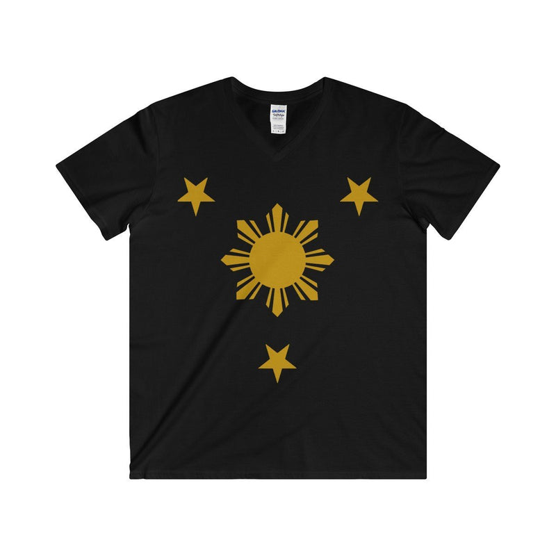 Three Stars & Sun - Fitted V-Neck Tee 7 Colors Available Black / S V-Neck