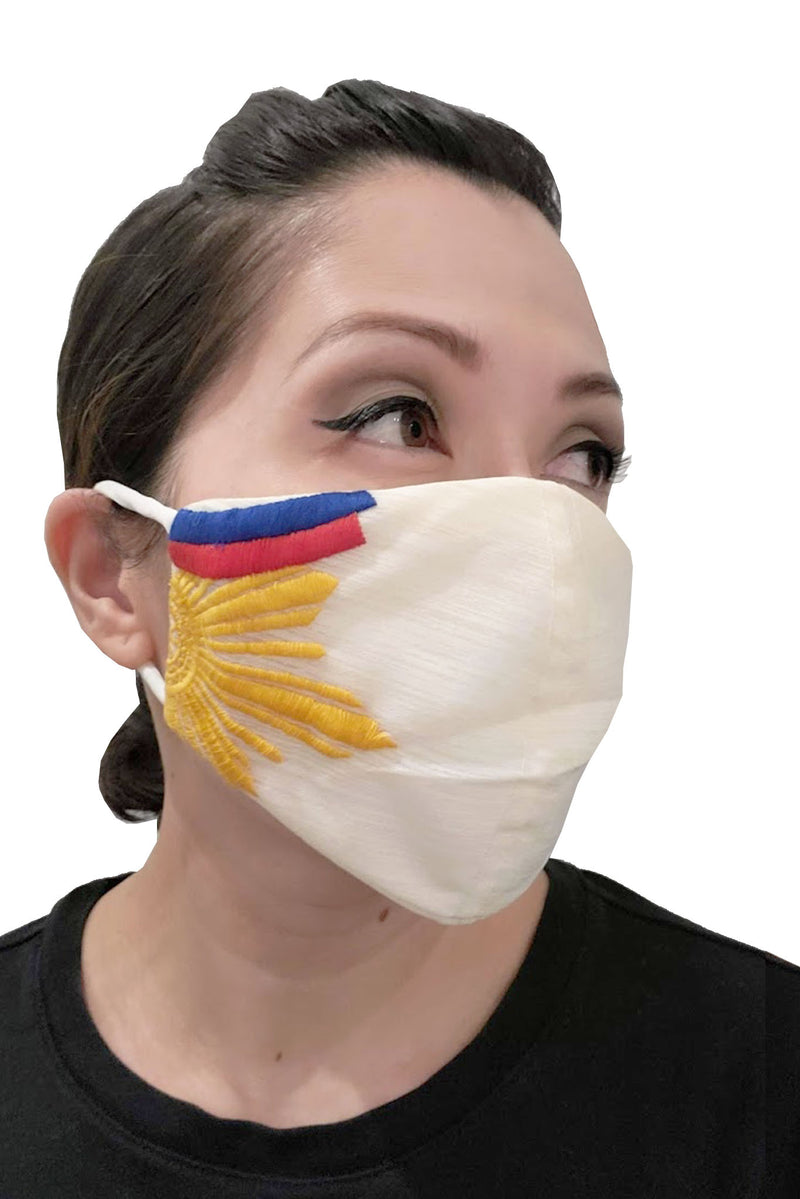 Barong Warehouse - Filipino Flag Face Mask - White with Embroidery