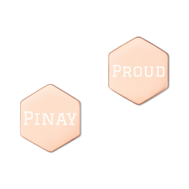 PROUD PINAY Sterling Silver Hexagon Stud Earrings