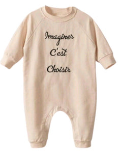 Unisex Infant Oversized Sweat Slogan Romper- Pastel Pink