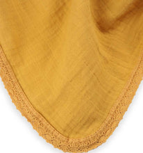 Load image into Gallery viewer, Organic Lace Trimmed Mustard Muslin Blanket