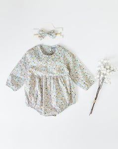 Baby Girl Peter-Pan Collar Ditsy Romper & Headband Set- Mint Blue