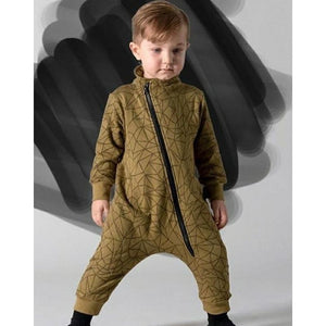 Kids Geometric Print Zipper Romper Suit -Olive Green
