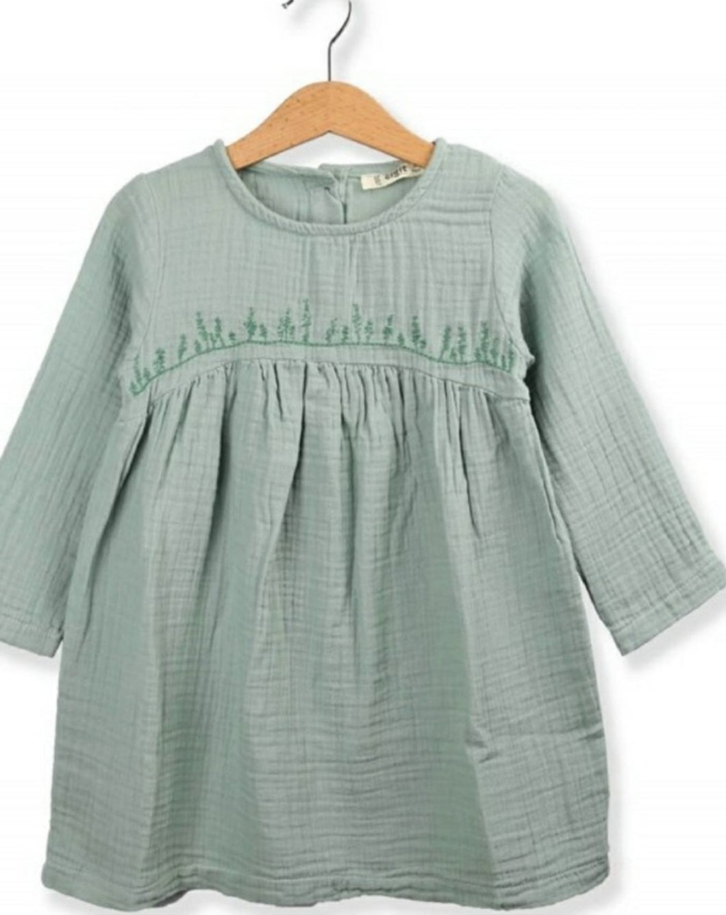 Leaf Motif Cotton Muslin Smock Dress -Mint Green