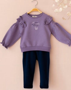 "Girls Sweater & Jogger Set ""Big Things Have Small Beginnings"" Organic Cotton 
