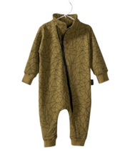 Load image into Gallery viewer, Kids Geometric Print Zipper Romper Suit -Olive Green