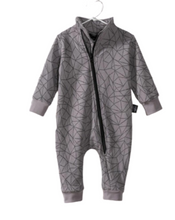 Load image into Gallery viewer, Kids Geometric Print Zipper Romper Suit -Grey