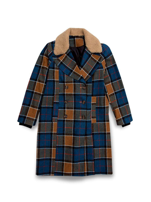 Wallis Long Coat Check With Neck Fur - enemmall.com