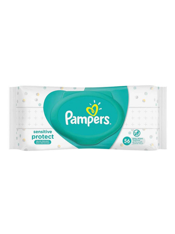 Pampers Baby Sensitive Protect Wipes 56Pcs with Cover