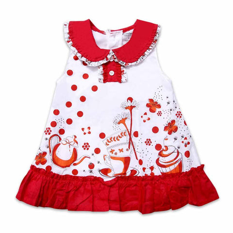 Imported Girls 2 Pcs S/L Printed Frock With Cake & Cup 043-33 (S-16) - enemmall.com