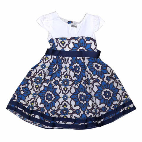 DKNY Girls C/S Printed Cotton Frock With Ribbon @ W/B & Bottom 4430246 (S-16) - enemmall.com