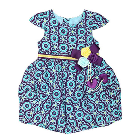 Imported Girls C/S Printed Cotton Frock With Bow,Flower& Heart 4430936 (S-16) - enemmall.com