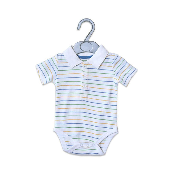 Imported Boys S/S Striper Body Suit With Collar 21 (S-16) - enemmall.com