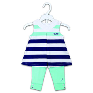 Nautica Girls 2pcs Tight Suit S/L With Front Nautica Emb #6 (S-19) - Enem Store - Online Shopping Mall. The Generations Store