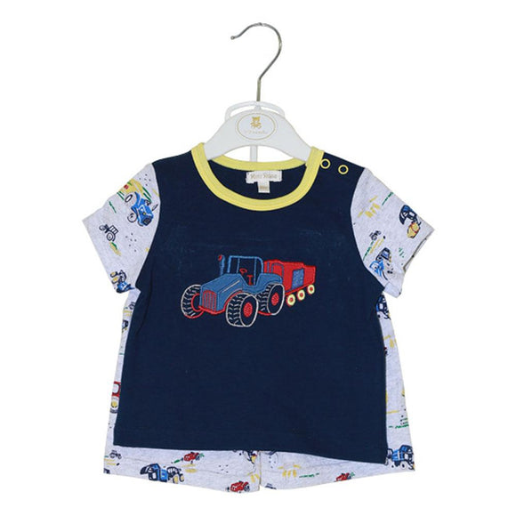 Mini Rose Boys 2pcs Knicker Suit H/S With Truck Emb MR-113(S-19) - enemmall.com