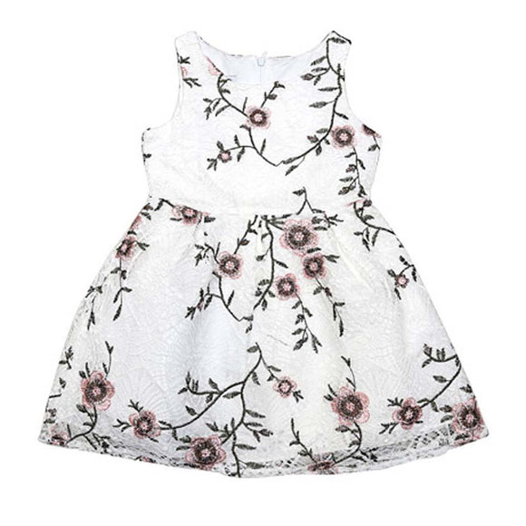 Imp Baby Girls Fancy Frock S/L With Flower Emb Q959584 (S-19) - enemmall.com
