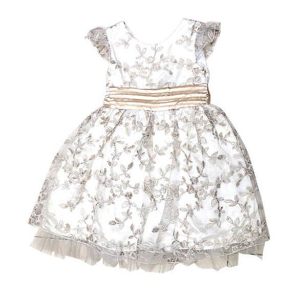 Imp Girls Fancy Frock With Golden Flower Emb Q665 (W-19) - enemmall.com