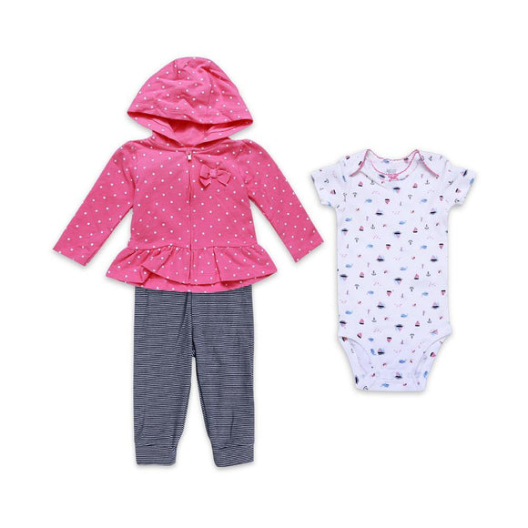CArters Girls 3pcs Tights Suit L/S With Hood & Dots Print R3 (W-19)