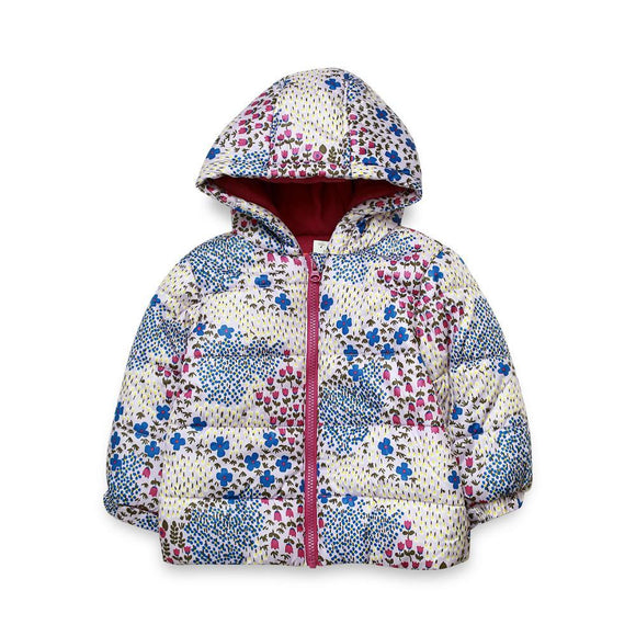 Joe Fresh Girls Quilted Jacket L/S With Flower Print (W-19)