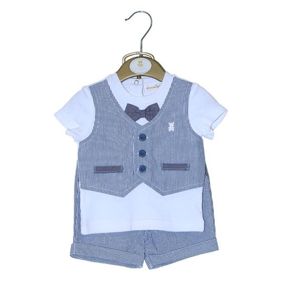 Mintini Boys H/S 2pcs Knicker Suit With Waist Coat Style TB1295 (S-20) - enemmall.com
