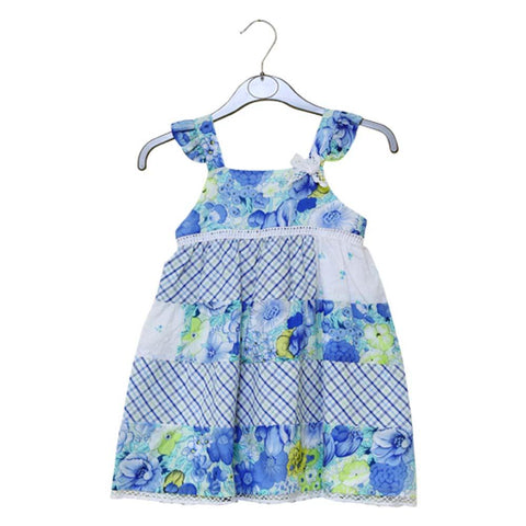 Dr Kids Girls S/L Cotton Frock With Flower Print DK431 (S-20) - enemmall.com