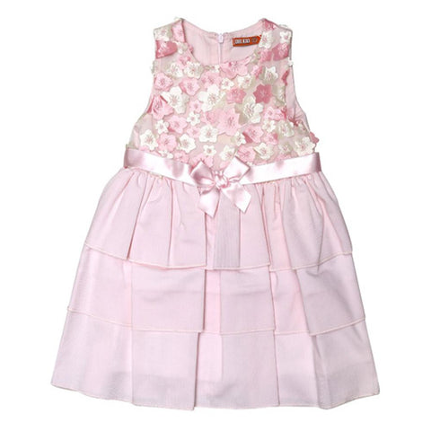 Dr Kids Girls Fancy Frock With Flower Emb DK444 (S-20) - enemmall.com