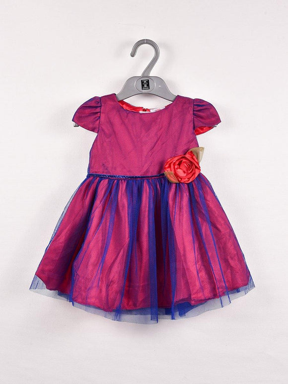 Imp Girls Fancy Frock With Front Flower #128-0 (S-20)