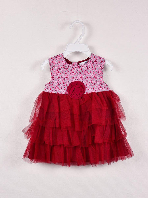 Imp Girls Fancy Frock With Flower Pach & Print #BD26 (S-20)