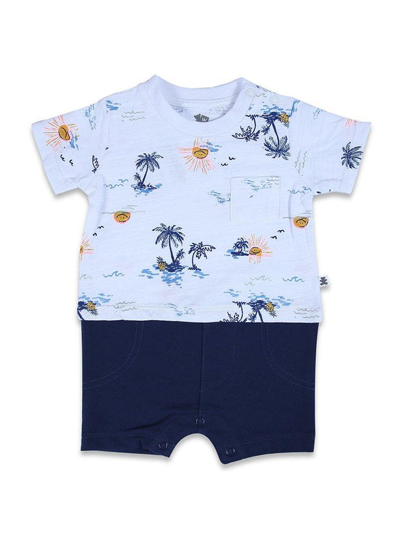 Imp Boys Romper H/S With Pocket & Tree Print #BD3 (S-20) - enemmall.com