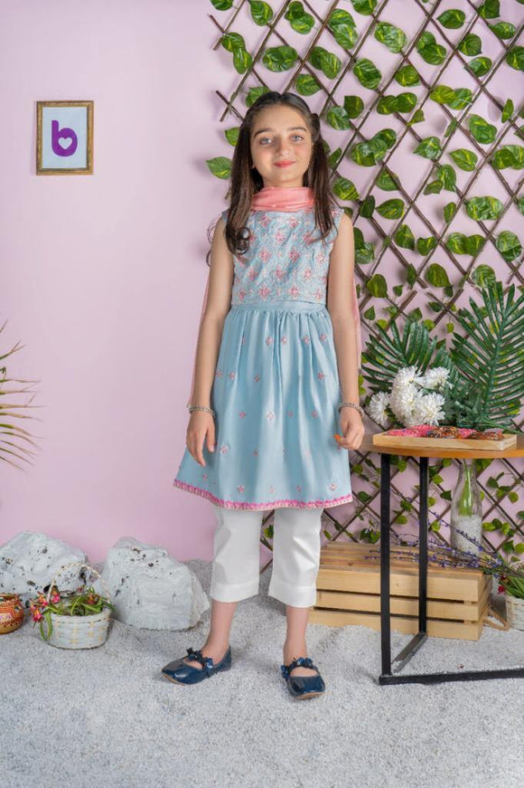 Dhaga Girls 3Pcs Frock Suit 05G (S-21)