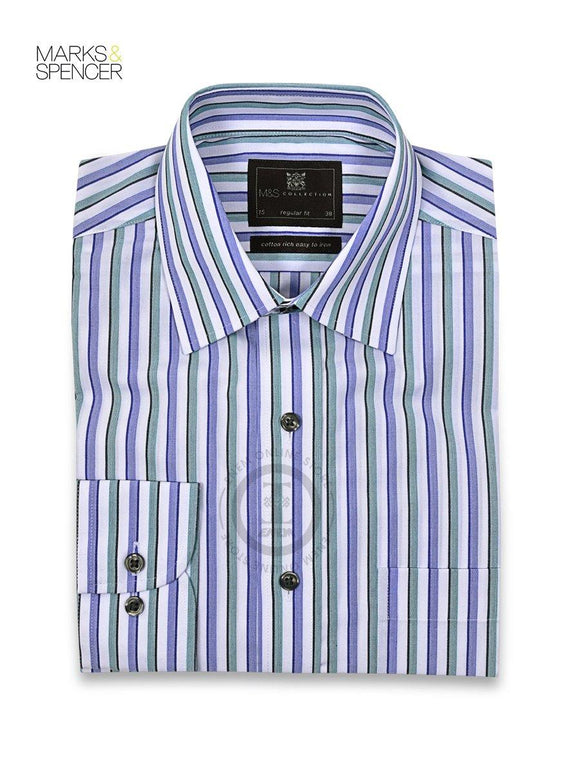 M&S Cotton Rich Easy to Iron Rope Striped Shirt T11/5067 - enemmall.com