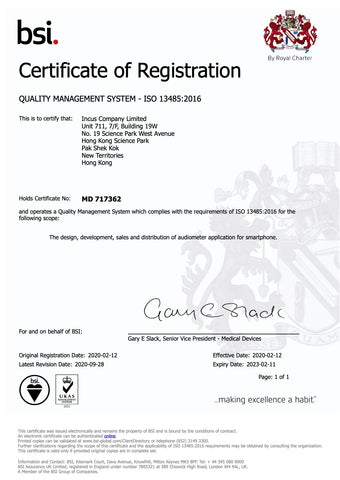 ISO 13485 certificate issued by BSI