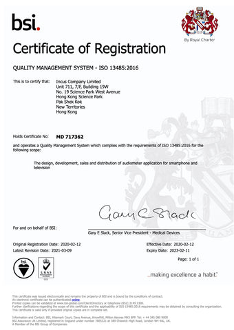 ISO 13485 certificate issued by BSI to Incus Company Limited