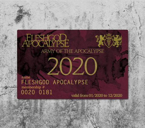 THE ARMY OF THE APOCALYPSE MEMBERSHIP 2020