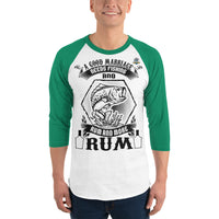 3/4 Sleeve  A Good Marriage Needs Fishing And Rum Raglan Shirt 9 Colors