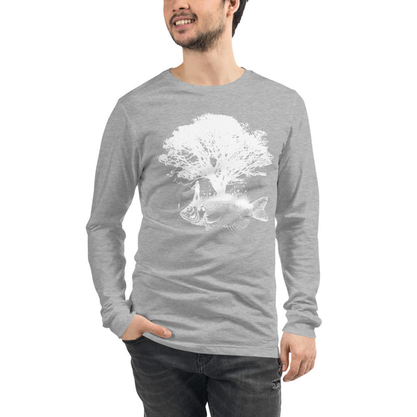 Long Sleeve Front Tree Fish Back ECG T-Shirt 7 Colors