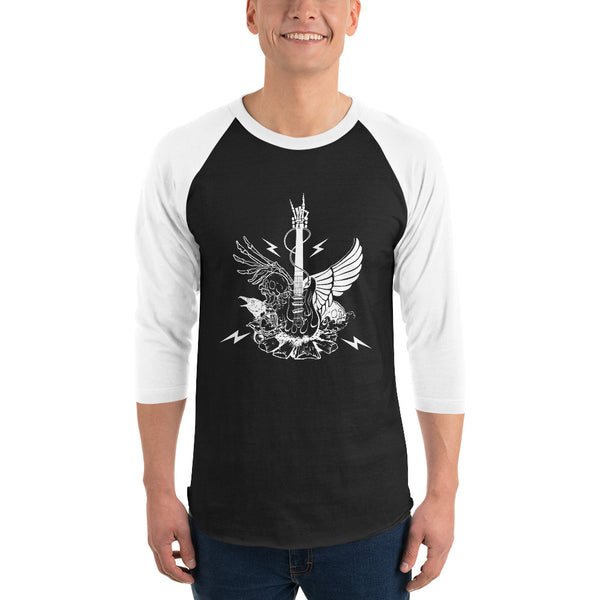 3/4 Sleeve Winged Guitar Raglan Shirt 5 Colors