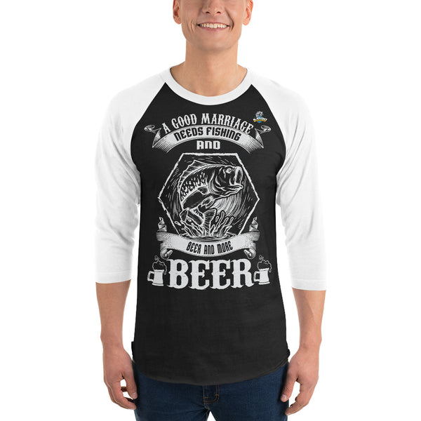 3/4 Sleeve A Good Marriage Needs Beer Raglan T-Shirt 9 Colors